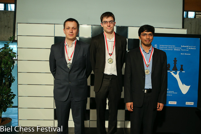 Podium Grandmaster Tournament GM Wojtaszek Radoslaw (2nd), GM Va